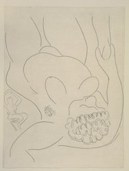 "Henri Matisse (French, 1869-1954). <em>[Untitled] (Illustration for ""Le Pitre Châtié,""</em> 1932. Etching on colored wove paper, Sheet: 12 15/16 x 9 13/16 in. (32.9 x 24.9 cm). Brooklyn Museum, Carll H. de Silver Fund, 36.67.4. © artist or artist's estate (Photo: Brooklyn Museum, 36.67.4_view1_PS12.jpg)"