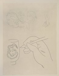 "Henri Matisse (French, 1869-1954). <em>[Untitled] (Tailpiece for the Poem ""Angoisse"")</em>, 1932. Etching on colored wove paper, Sheet: 12 13/16 x 9 13/16 in. (32.5 x 24.9 cm). Brooklyn Museum, Carll H. de Silver Fund, 36.67.7. © artist or artist's estate (Photo: Brooklyn Museum, 36.67.7_view1_PS12.jpg)"