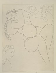 "Henri Matisse (French, 1869-1954). <em>[Untitled] (Illustration for the Poem ""Les Fleurs"")</em>, 1932. Etching on colored wove paper, Sheet: 12 7/8 x 9 15/16 in. (32.7 x 25.2 cm). Brooklyn Museum, Carll H. de Silver Fund, 36.67.8. © artist or artist's estate (Photo: Brooklyn Museum, 36.67.8_view1_PS12.jpg)"