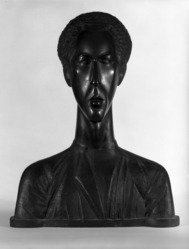 Chana Orloff (Russian, 1888-1969). <em>Bust of Rubin</em>. Bronze, 26 × 20 × 8 1/2 in. (66 × 50.8 × 21.6 cm). Brooklyn Museum, Bequest of Frankwood E. Williams, 36.853. © artist or artist's estate (Photo: Brooklyn Museum, 36.853_front_bw.jpg)