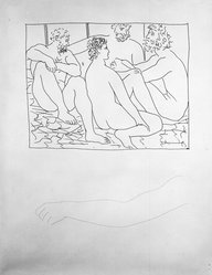 Pablo Picasso (Spanish, 1881-1973). <em>Quatre Hommes nus assis</em>, 1931. Etching on Japan paper, laid down on mat board with tape at left edge, Sheet: 13 x 10 in. (33 x 25.4 cm). Brooklyn Museum, By exchange, 36.915.13. © artist or artist's estate (Photo: Brooklyn Museum, 36.915.13_bw.jpg)