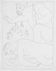 Pablo Picasso (Spanish, 1881-1973). <em>Céphale tue par Mégarde sa femme procris</em>, 1930. Etching on Japan paper, laid down on mat board with tape at left edge, Sheet: 12 13/16 x 10 in. (32.5 x 25.4 cm). Brooklyn Museum, By exchange, 36.915.14. © artist or artist's estate (Photo: Brooklyn Museum, 36.915.14_bw.jpg)