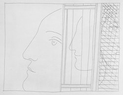 Pablo Picasso (Spanish, 1881-1973). <em>Trois fragments de Têtes</em>, 1931. Etching on Japan paper, laid down on mat board with tape at left edge, Sheet: 12 7/8 x 10 1/8 in. (32.7 x 25.7 cm). Brooklyn Museum, By exchange, 36.915.17. © artist or artist's estate (Photo: Brooklyn Museum, 36.915.17_bw.jpg)