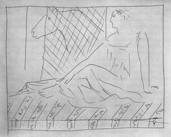Pablo Picasso (Spanish, 1881-1973). <em>Femme assise et cheval</em>, 1931. Etching on Japan paper, laid down on mat board with tape at left edge, Sheet: 13 x 10 in. (33 x 25.4 cm). Brooklyn Museum, By exchange, 36.915.21. © artist or artist's estate (Photo: Brooklyn Museum, 36.915.21_bw.jpg)