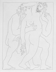 Pablo Picasso (Spanish, 1881-1973). <em>Vertumne poursuit Pomone de son amour</em>, 1930. Etching on Japan paper, laid down on mat board with tape at left edge, Sheet: 12 7/8 x 10 in. (32.7 x 25.4 cm). Brooklyn Museum, By exchange, 36.915.28. © artist or artist's estate (Photo: Brooklyn Museum, 36.915.28_bw.jpg)