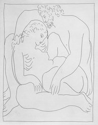 Pablo Picasso (Spanish, 1881-1973). <em>Amours de Jupiter et de Sémélé</em>, 1930. Etching on Japan paper, laid down on mat board with tape at left edge, Sheet: 12 15/16 x 10 1/4 in. (32.9 x 26 cm). Brooklyn Museum, By exchange, 36.915.6. © artist or artist's estate (Photo: Brooklyn Museum, 36.915.6_bw.jpg)