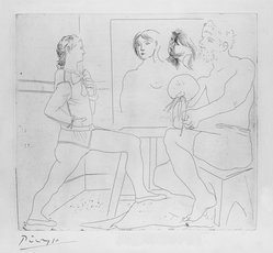 Pablo Picasso (Spanish, 1881-1973). <em>L'Atelier</em>, 1927. Etching on wove paper, Image: 13 7/8 x 15 3/8 in. (35.2 x 39 cm). Brooklyn Museum, 36.958. © artist or artist's estate (Photo: Brooklyn Museum, 36.958_bw.jpg)