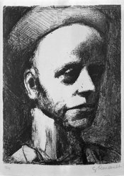 Georges Rouault (French, 1871-1958). <em>Self-Portrait with Cap</em>. Lithograph on wove paper, comp.: 9 1/8 x 6 13/16 in. (23.2 x 17.3 cm). Brooklyn Museum, By exchange, 36.959. © artist or artist's estate (Photo: Brooklyn Museum, 36.959_acetate_bw.jpg)