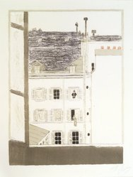 Pierre Bonnard (French, 1867-1947). <em>House in a Courtyard (Maison dans la cour)</em>, 1899. Color lithograph on wove paper, Image: 13 11/16 x 10 3/16 in. (34.8 x 25.9 cm). Brooklyn Museum, By exchange, 36.960. © artist or artist's estate (Photo: Brooklyn Museum, 36.960_transp6047.jpg)
