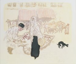 Pierre Bonnard (French, 1867-1947). <em>The Costermonger (Le Marchand des quatre-saisons)</em>, ca. 1897. Color lithograph on wove paper, Image: 11 1/2 x 13 3/8 in. (29.2 x 34 cm). Brooklyn Museum, By exchange, 36.961. © artist or artist's estate (Photo: Brooklyn Museum, 36.961_transp1258.jpg)