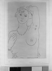 Henri Matisse (French, 1869-1954). <em>Torse au Collier</em>. Etching on China paper laid down, 7 x 5 in. (17.8 x 12.7 cm). Brooklyn Museum, By exchange, 36.970. © artist or artist's estate (Photo: Brooklyn Museum, 36.970_acetate_bw.jpg)