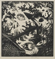 Robert John Gibbings (British, 1889-1958). <em>The Lost Anchor</em>, 1936. Wood engraving on laid paper, Sheet: 14 x 11 1/2 in. (35.6 x 29.2 cm). Brooklyn Museum, Frank Sherman Benson Fund, 36.971. © artist or artist's estate (Photo: Brooklyn Museum, 36.971_PS2.jpg)