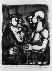 Georges Rouault (French, 1871-1958). <em>Démagogie, Deux Augures</em>. Lithograph on wove Arches paper, 12 3/16 x 9 7/16 in. (31 x 24 cm). Brooklyn Museum, By exchange, 37.108. © artist or artist's estate (Photo: Brooklyn Museum, 37.108_acetate_bw.jpg)