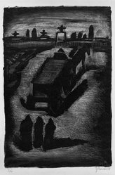 Georges Rouault (French, 1871-1958). <em>Faubourg, Pantin</em>, 1929. Lithograph on China paper, 13 x 8 3/4 in. (33 x 22.2 cm). Brooklyn Museum, By exchange, 37.112. © artist or artist's estate (Photo: Brooklyn Museum, 37.112_acetate_bw.jpg)
