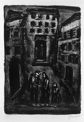 Georges Rouault (French, 1871-1958). <em>Banlieu II</em>, 1929. Lithograph on laid paper, 12 3/8 x 8 11/16 in. (31.5 x 22 cm). Brooklyn Museum, By exchange, 37.113. © artist or artist's estate (Photo: Brooklyn Museum, 37.113_acetate_bw.jpg)
