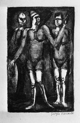 Georges Rouault (French, 1871-1958). <em>Cirque Forain.  Les Boxeurs</em>. Lithograph on China paper, 13 x 8 3/8 in. (33 x 21.3 cm). Brooklyn Museum, By exchange, 37.117. © artist or artist's estate (Photo: Brooklyn Museum, 37.117_acetate_bw.jpg)