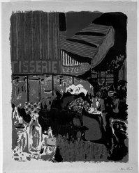 Édouard Vuillard (French, 1868-1940). <em>Terrasse de Cafe, la Nuit</em>, 1899. Color lithograph on wove paper, Image: 14 1/8 × 10 7/8 in. (35.9 × 27.6 cm). Brooklyn Museum, By exchange, 37.149.11. © artist or artist's estate (Photo: Brooklyn Museum, 37.149.11_bw_IMLS.jpg)