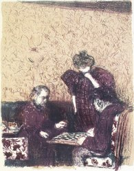Édouard Vuillard (French, 1868-1940). <em>The Game of Checkers (La Partie de dames)</em>, 1899. Color lithograph on China paper, Image: 13 3/8 x 10 1/16 in. (34 x 25.6 cm). Brooklyn Museum, By exchange, 37.149.2. © artist or artist's estate (Photo: Brooklyn Museum, 37.149.2_transp1279.jpg)