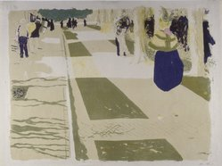 Édouard Vuillard (French, 1868-1940). <em>The Avenue (L'Avenue)</em>, 1899. Color lithograph on laid paper, image: 12 3/8 × 16 3/8 in. (31.4 × 41.6 cm). Brooklyn Museum, By exchange, 37.149.3. © artist or artist's estate (Photo: Brooklyn Museum, 37.149.3_SL4.jpg)