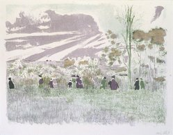 Édouard Vuillard (French, 1868-1940). <em>Across the Fields (À travers champs)</em>, 1899. Color lithograph on wove paper, Image: 10 5/16 x 13 5/8 in. (26.2 x 34.6 cm). Brooklyn Museum, By exchange, 37.149.4. © artist or artist's estate (Photo: Brooklyn Museum, 37.149.4_transp1281.jpg)