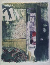 Édouard Vuillard (French, 1868-1940). <em>Interior with Hanging Lamp (Intérieur à la suspension)</em>, 1899. Color lithograph on China paper, Image: 14 1/8 x 11 3/16 in. (35.9 x 28.4 cm). Brooklyn Museum, By exchange, 37.149.5. © artist or artist's estate (Photo: Brooklyn Museum, 37.149.5_transp1282.jpg)