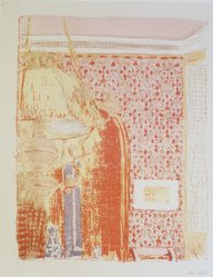 Édouard Vuillard (French, 1868-1940). <em>Interior with Pink Wallpaper I (Intérieur aux tentures roses I)</em>, 1899. Color lithograph on China paper, Image: 13 9/16 x 10 7/8 in. (34.4 x 27.6 cm). Brooklyn Museum, By exchange, 37.149.6. © artist or artist's estate (Photo: Brooklyn Museum, 37.149.6_transp3278.jpg)