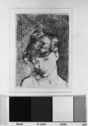 Pablo Picasso (Spanish, 1881-1973). <em>Tête de Femme</em>, 1905. Etching on wove paper, Sheet: 20 1/16 x 14 in. (51 x 35.6 cm). Brooklyn Museum, 37.22. © artist or artist's estate (Photo: Brooklyn Museum, 37.22_acetate_bw.jpg)