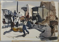 Hardie Gramatky (American, 1907-1979). <em>Market in New Orleans</em>, ca. 1934. Watercolor over graphite on cream, thick, rough-textured wove paper, 14 11/16 x 21 1/8 in. (37.3 x 53.7 cm). Brooklyn Museum, John B. Woodward Memorial Fund, 37.354. © artist or artist's estate (Photo: Brooklyn Museum, 37.354_PS1.jpg)