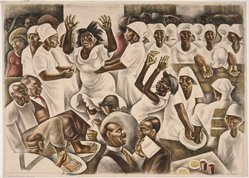Howard Norton Cook (American, 1901-1980). <em>Foot Washing</em>, 1935. Watercolor over graphite on paper, Sheet: 23 1/4 x 32 in. (59.1 x 81.3 cm). Brooklyn Museum, John B. Woodward Memorial Fund, 37.355. © artist or artist's estate (Photo: Brooklyn Museum, 37.355_SL1.jpg)