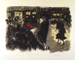 Pierre Bonnard (French, 1867-1947). <em>The Square at Evening (Place le soir)</em>, 1897-1898. Color lithograph on wove paper, Image: 11 1/16 x 15 in. (28.1 x 38.1 cm). Brooklyn Museum, By exchange, 37.389. © artist or artist's estate (Photo: Brooklyn Museum, 37.389_transp1332.jpg)