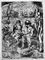 Max Beckmann (German, 1884-1950). <em>Fourth Class II (Vierte Klasse II)</em>, 1913. Etching and drypoint on wove paper, Sheet: 16 1/8 x 9 5/8 in. (41 x 24.4 cm). Brooklyn Museum, Gift of J. B. Neumann, 37.417. © artist or artist's estate (Photo: Brooklyn Museum, 37.417_bw_IMLS.jpg)