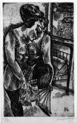 Conrad Felixmüller (German, 1897-1977). <em>Woman Dressing in the Morning</em>. Etching on wove paper, 11 x 6 15/16 in. (28 x 17.7 cm). Brooklyn Museum, Gift of J. B. Neumann, 37.428. © artist or artist's estate (Photo: Brooklyn Museum, 37.428_bw.jpg)