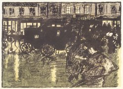 Pierre Bonnard (French, 1867-1947). <em>Street at Evening in the Rain (Rue le soir, sous la pluie)</em>, 1896-1897. Color lithograph on wove paper, Image: 10 x 13 7/8 in. (25.4 x 35.2 cm). Brooklyn Museum, By exchange, 37.452. © artist or artist's estate (Photo: Brooklyn Museum, 37.452_transp1336.jpg)