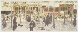 Pierre Bonnard (French, 1867-1947). <em>Boulevard</em>, ca. 1896. Color lithograph on wove paper, Image: 6 7/8 x 17 in. (17.5 x 43.2 cm). Brooklyn Museum, By exchange, 37.455. © artist or artist's estate (Photo: Brooklyn Museum, 37.455_transp1337.jpg)
