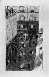 Pierre Bonnard (French, 1867-1947). <em>Street Corner Seen from Above (Coin de rue vue d'en haut)</em>, 1896-1897. Color lithograph on wove paper, Image: 14 9/16 x 8 5/16 in. (37 x 21.1 cm). Brooklyn Museum, By exchange, 37.567. © artist or artist's estate (Photo: Brooklyn Museum, 37.567_acetate_bw.jpg)