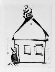 Marc Chagall (French, born Russia, 1887-1985). <em>Illustration for a Russian Folk Tale</em>, 1923. Drypoint on laid paper, 8 1/4 x 6 1/4 in. (21 x 15.9 cm). Brooklyn Museum, A. Augustus Healy Fund, 37.598. © artist or artist's estate (Photo: Brooklyn Museum, 37.598_bw.jpg)