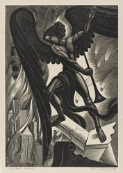 Boris Artzybasheff (American, 1899-1965). <em>The Last Trumpet</em>, 1937. Wood engraving, Sheet: 14 3/4 x 11 1/4 in. (37.5 x 28.6 cm). Brooklyn Museum, 37.608. © artist or artist's estate (Photo: Brooklyn Museum, 37.608_PS2.jpg)