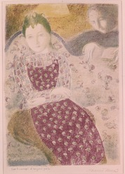 Maurice Denis (French, 1870-1943). <em>On the Pale Silver Couch (Sur la canapé d'argent pale)</em>, 1892-1899. Color lithograph on wove paper, Image: 16 7/16 x 11 3/8 in. (41.8 x 28.9 cm). Brooklyn Museum, By exchange, 38.113. © artist or artist's estate (Photo: Brooklyn Museum, 38.113_SL4.jpg)