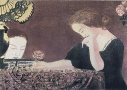 Maurice Denis (French, 1870-1943). <em>Our Souls in Slow Movements (Nos âmes en des gestes lentes)</em>, 1892-1899. Color lithograph on wove paper, Image: 11 7/16 x 15 13/16 in. (29.1 x 40.2 cm). Brooklyn Museum, By exchange, 38.114. © artist or artist's estate (Photo: Brooklyn Museum, 38.114_transp1360.jpg)