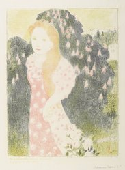 Maurice Denis (French, 1870-1943). <em>Twilights Have the Sweetness of Old Painting (Les Crépuscules ont une douceur d'ancienne peinture)</em>, 1892-1899. Color lithograph on wove paper, Image: 16 1/4 x 11 3/4 in. (41.3 x 29.8 cm). Brooklyn Museum, By exchange, 38.115. © artist or artist's estate (Photo: Brooklyn Museum, 38.115_PS6.jpg)