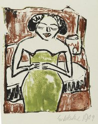 Erich Heckel (German, 1883-1970). <em>Neapolitan Singer (Neapolitanische Sängerin)</em>, 1909. Lithograph in black ink and relief print in red and green ink on wove paper, image (uneven): 7 1/4 × 6 1/16 in. (18.4 × 15.4 cm). Brooklyn Museum, By exchange, 38.126. © artist or artist's estate (Photo: Brooklyn Museum, 38.126_PS2.jpg)