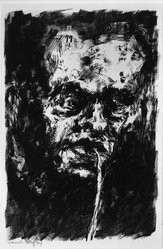 Karl Schmidt-Rottluff (German, 1884-1976). <em>Man with Pipe [Self-portrait] (Mann mit Pfeife [Selbstbildnis])</em>, 1907. Lithograph on heavy wove paper, Image: 13 3/8 x 8 13/16 in. (34 x 22.4 cm). Brooklyn Museum, By exchange, 38.127. © artist or artist's estate (Photo: Brooklyn Museum, 38.127_bw_IMLS.jpg)