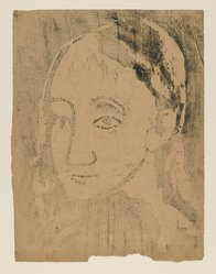 Pablo Picasso (Spanish, 1881-1973). <em>Buste de Jeune Femme</em>, 1906. Woodcut on wove paper pasted down on heavy rag board, Sheet: 22 1/8 x 18 1/8 in. (56.2 x 46 cm). Brooklyn Museum, 38.132. © artist or artist's estate (Photo: Brooklyn Museum, 38.132_PS2.jpg)