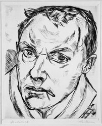 Max Beckmann (German, 1884-1950). <em>Large Self-Portrait (Grosses Selbstbildnis)</em>, 1919. Drypoint on heavy wove paper, Image: 9 3/8 x 7 5/8 in. (23.8 x 19.4 cm). Brooklyn Museum, By exchange, 38.196. © artist or artist's estate (Photo: Brooklyn Museum, 38.196_acetate_bw.jpg)