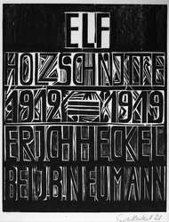 Erich Heckel (German, 1883-1970). <em>Title Page of the Erich Heckel Portfolio Published by J.B. Neumann, Berlin (Titelblatt der Erich Heckel-Mappe des Verlages J.B. Neumann, Berlin)</em>, 1921. Woodcut on heavy wove paper, Image: 17 5/8 x 14 in. (44.8 x 35.6 cm). Brooklyn Museum, By exchange, 38.197. © artist or artist's estate (Photo: Brooklyn Museum, 38.197_bw_IMLS.jpg)