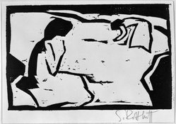 Karl Schmidt-Rottluff (German, 1884-1976). <em>Woman Picking Flowers (Blumenflückende Frauen)</em>, 1910. Woodcut on wove paper, Image: 4 5/16 x 6 11/16 in. (11 x 17 cm). Brooklyn Museum, By exchange, 38.203. © artist or artist's estate (Photo: Brooklyn Museum, 38.203_bw_IMLS.jpg)