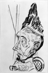 Max Beckmann (German, 1884-1950). <em>Old Woman with Peaked Bonnet (Alte Frau mit Kapotthut)</em>, 1920. Etching on wove paper, Image (Plate): 11 3/4 x 7 11/16 in. (29.8 x 19.5 cm). Brooklyn Museum, By exchange, 38.204. © artist or artist's estate (Photo: Brooklyn Museum, 38.204_bw_IMLS.jpg)