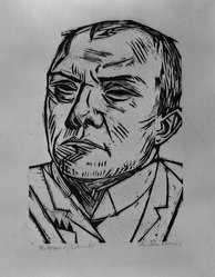 Max Beckmann (German, 1884-1950). <em>Self-Portrait (Selbstbildnis)</em>, 1922. Woodcut on Japan paper, Image: 8 3/4 x 6 3/16 in. (22.2 x 15.7 cm). Brooklyn Museum, By exchange, 38.205. © artist or artist's estate (Photo: Brooklyn Museum, 38.205_acetate_bw.jpg)