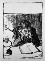 Max Beckmann (German, 1884-1950). <em>Man Reading (Self-Portrait) (Lesender Mann [Selbstbildnis])</em>, 1912. Lithograph on wove paper, Image: 8 1/4 x 5 7/8 in. (21 x 14.9 cm). Brooklyn Museum, By exchange, 38.206. © artist or artist's estate (Photo: Brooklyn Museum, 38.206_bw_IMLS.jpg)