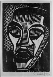 Karl Schmidt-Rottluff (German, 1884-1976). <em>Man in Pain (Mann im Schmerz)</em>, 1916. Woodcut on wove paper, 10 1/4 x 7 1/8 in. (26 x 18.1 cm). Brooklyn Museum, By exchange, 38.210. © artist or artist's estate (Photo: Brooklyn Museum, 38.210_acetate_bw.jpg)